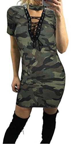 Price comparison product image Longwu Sexy Womens Bandage Deep V Neck Halter Camouflage Slim Cocktail Mini Dress Camouflage1-L