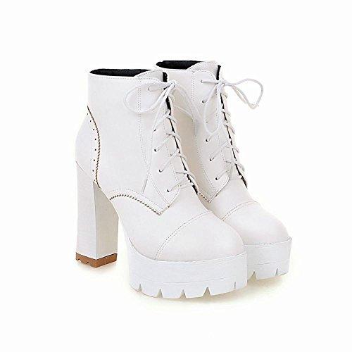 Mee Shoes Damen warm gefüttert chunky heels Schnürsenkel Plateau Stiefel Weiß