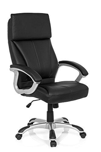 MyBuero fauteuil de direction, fauteuil bureau RELAX CL160 imitation cuir noir, avec accoudoirs, dossier haut et appuie-tête intégré, design élégant