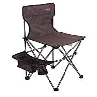 HJKH Compact Lightweight Folding With Side Pocke Ideal For Backpacking Camp Park Picnic Festival Outdoors Beach Foldable Adjustable Recliner (Color : Brown, Size : 47 * 47 * 74cm)