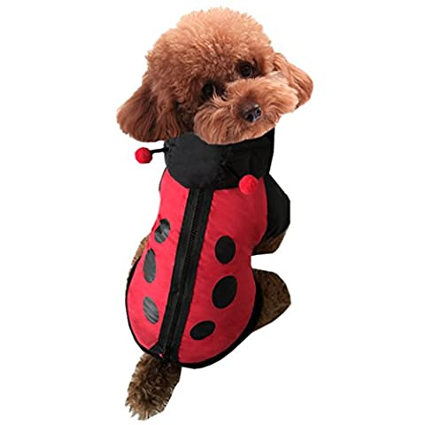 Yuncai Lustige Stereoskopisch Marienkäfer Verkleidung Haustier Hund Kleidung Halloween Party Cosplay Kostüme für Katzen Schwarz (Marienkäfer-kostüm Bilder)