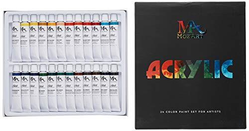 Pintura acrílica Kit - 24 colores de pintura Tubos 12ml - Artista Grado Arte Pintura Set para profesionales, principiantes y niños - Ideal para lona,   cerámica y artesanías - Suministros Mozart
