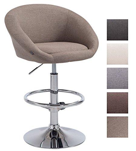 CLP Tabouret de Bar Design Miami V2 Tissu Réglable en Hauteur Pivotant I Chaise Haute de Bar Ergonomique Dossier et Repose-Pied I Couleur: Taupe