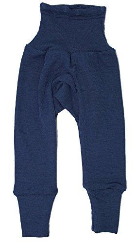Cosilana Baby Hose lang mit Bund, Größe 74/80, Farbe Marine, 70 % Merinoschurwolle, 30 % Seide (Blau Wolle Hosen)