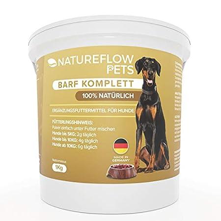 NATUREFLOW Barf Zusatz Hund – 1kg Natürliches Barf Pulver Made in Germany als Hochwertige Rundumversorgung – Liefert…