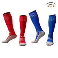EQLEF® Boys Soccer Socks, Children Non Slip Long Compression Socks Quick-drying Elastic Football Running Sports Socks For Kids 6-7 Years Old (red + blue)