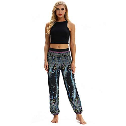 Huicai Frauen Haremshosen Yogahosen kleine Füße Hosen mit elastischer hoher Taille Hippie Frau Übung & Fitness Hose mit Tasche