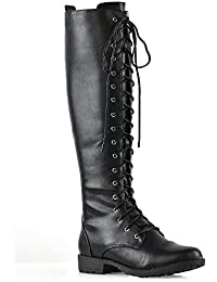 ESSEX GLAM Womens Knee High Lace Up Calf Biker Ladies Zip Punk Military Combat Army Boots