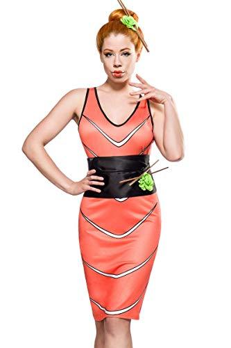 Kostüm Sushi Fisch - Damen Sushi Outfit Kostüm aus Fisch Kleid mit Stäbchen und Gürtel Kopfschmuck und Kissen Wasabi Blume Fasching S-M