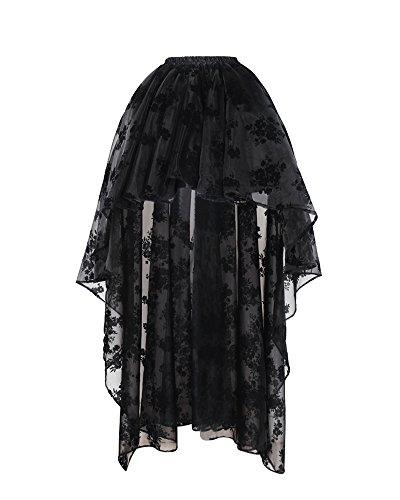 Bslingerie® Damen Gothic Punk Steampunk Spitze Rock Kleidung Kurzer Rock (Schwarz Blumen, M)