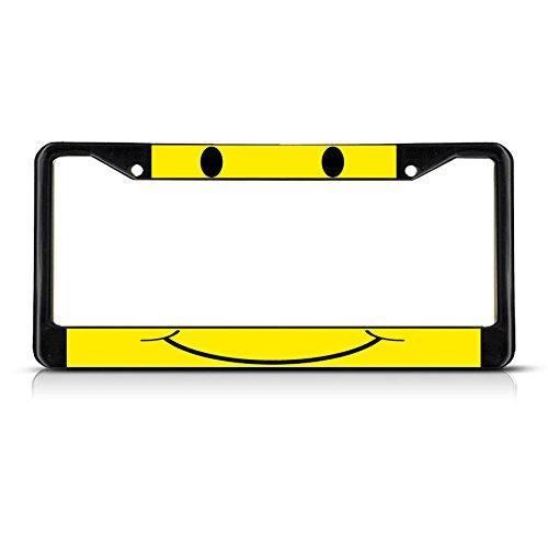 Kennzeichenhalter mit Smiley-Gesicht, gelbes Metall, Schwarz, perfekt für Männer und Frauen