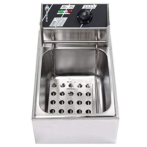 Fay 10 Liter 2500 W Elektro-Eintank-Fritteuse aus rostfreiem Stahl, Temperaturregelung, LED-Anzeige, leicht zu reinigende Fritteuse -