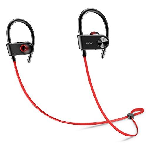 Auricolari Bluetooth,Cuffie wireless in ear Mic IPX5 Sweatproof HD Stereo Musica Ganci per l'orecchio Fit sicuro per palestra Allenamento da corsa - Rosso