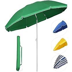 Sekey® Sombrilla Ø 160 cm parasol para terraza jardín playa balcón piscina patio , color verde , protector solar UV20+
