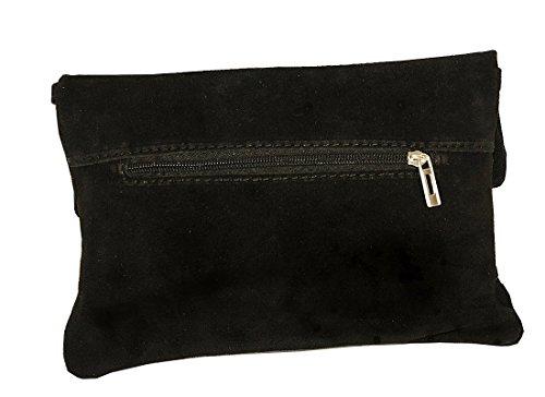 Clutch ,Borse a spalla (28 / 19 / 4 cm ) in pelle Mod. 2059 by Fashion-Formel WL-Nero