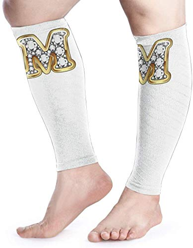 Calf Compression Sleeve for Men & Women, Premium Leg Compression Socks for Shin Splints and Varicose Veins, Elastic Footless Sleeve for Running, Cycling, Travel & Recovery, M Letter in Gold dsafatfare