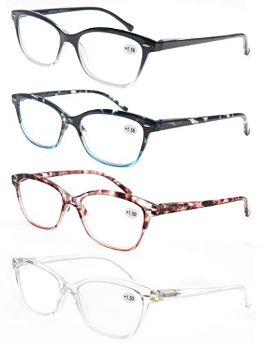 MODFANS (4 Pack) Lesebrille 2.25 Katzenauge Damen,Gute Brillen,Hochwertig,Mode,Komfortabel,Super Lesehilfe,fur Frauen