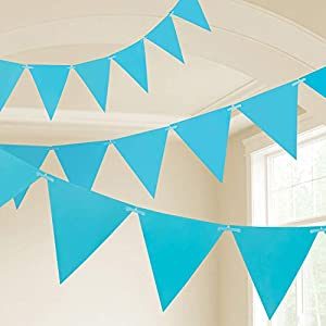 Amscan International- Cinta decorativa, Color 10m plastic pennant banner - caribb blue (9903788)