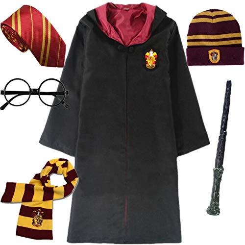 IWFREE Kostüm Umhang für Harry Potter Gryffindor Hufflepuff Ravenclaw Slytherin Set Kinder Erwachsene Cosplay Outfit Set Zauberstab Krawatte Schal Brille Karneval Verkleidung Fasching Halloween (Harry Potter Kostüm Kit)