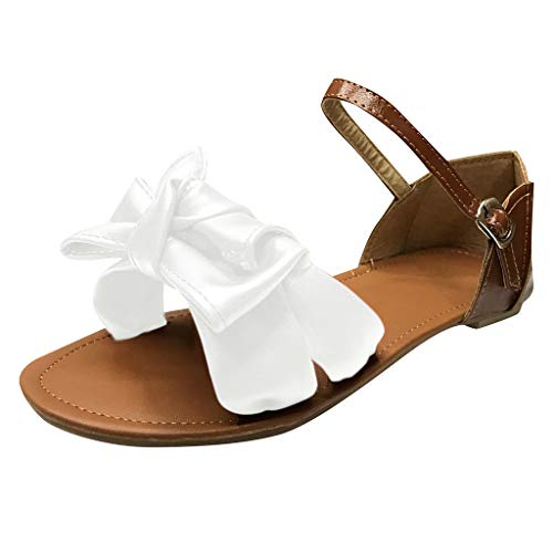 Sandalen Damen Sommer Mit Absatz Frauen Offene Zehe Bow Flats Knöchelriemen Mixed Color Große Größe Strandschuhe Weiß -
