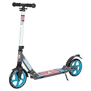 Star-Scooter Aluminium Kickscooter Roller Kinderroller Tretroller für Jungen und Mädchen ab 6-7 Jahre ★ Big 205mm Wheel mit Vollfederung Scooter für Kinder und Erwachsene ★ Grau & Blau