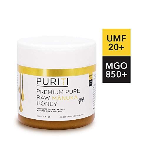 PURITI Manuka Honig aus Neuseeland MGO 850+ Zertifizierter Methylglyoxal Gehalt, 1x 120g