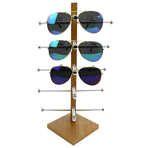 FOKOM Holz Brillenregal Brillenständer Brillenhalter Brillenablage Halter Sonnenbrillenständer Brillen Organizer Brillen Display für 5 Brillen Lesebrillen Sonnenbrillen -