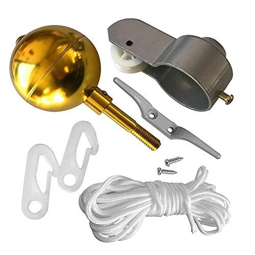 Fahnenmast-Zubehör Set,8-in-1-Fahnenmast Teile, Reparatur Werkzeug Set,Einschließlich Riemenscheibe,Kugel,Klemme,Geflochtenes Seil,Schrauben,Fahnenmast Klammern