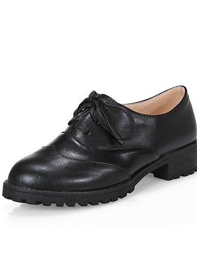 ZQ Scarpe Donna - Stringate - Formale / Casual - Comoda / Punta arrotondata - Basso - Finta pelle - Nero / Marrone / Rosso , black-us6 / eu36 / uk4 / cn36 , black-us6 / eu36 / uk4 / cn36 brown-us9.5-10 / eu41 / uk7.5-8 / cn42