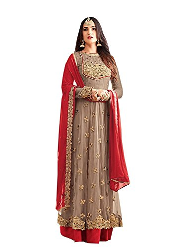 RTHub Women\'s Net Embroidered And Hand Work Semi Stitched Anarkali salwar suit (Grey_Free-Size_Maskeen-Grey)