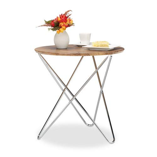 Relaxdays Table d'appoint ronde petite table basse en bois look vintage pieds croisés cadre en métal HxlxP: 59 x 60 x 60 cm, nature