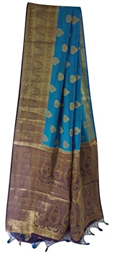 Weaves of Tradition Dupion Silk Saree with Meena Pallu (Blue)