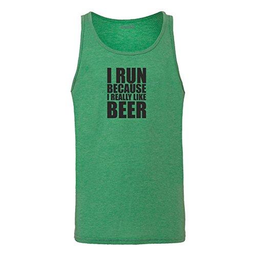 Brand88 - I Run Because I Really Like Beer, Unisex Jersey Weste Gruen Meliert