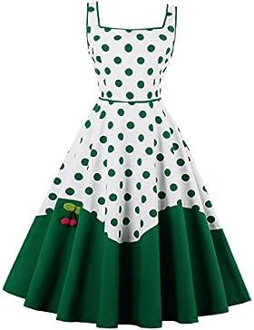 VKStar® 50er Rockabilly Kleid Polka Dots Petticoat Punkte Vintage ärmellos Abendkleid