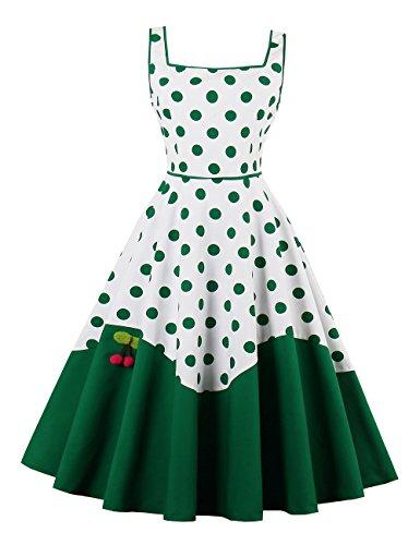 VKStar® 50er Rockabilly Kleid Polka Dots Petticoat Punkte Vintage ärmellos Abendkleid Grün M