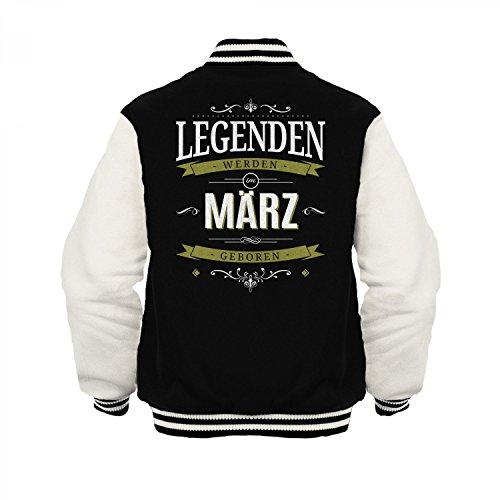 Fashionalarm Herren College Jacke - Legenden werden im März geboren | Varsity Baseball Jacket | Sweatjacke mit Spruch Geburtstag Geschenk Idee Schwarz / Weiß