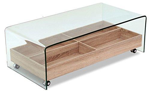 Meubletmoi Table Basse en Verre trempé - Plateau en Bois Roulant avec rangements - Design Moderne - Ice