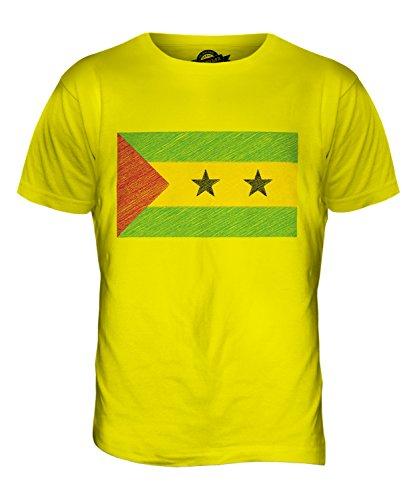 CandyMix São Tomé Und Príncipe Kritzelte Flagge Herren T Shirt Zitronengelb
