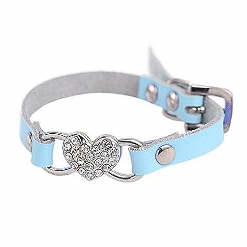 Collier chien Réglable Coeur strass Peach PU cuir Collier Pet Puppy Dog Collier (XXS-1.0cm*25cm, Bleu)