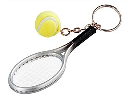 Price comparison product image NiceButy 1 Piece Key Ring Car Key Ring Mini Tennis Racket Creative Alloy Keychain Best Gift for Sports Lovers