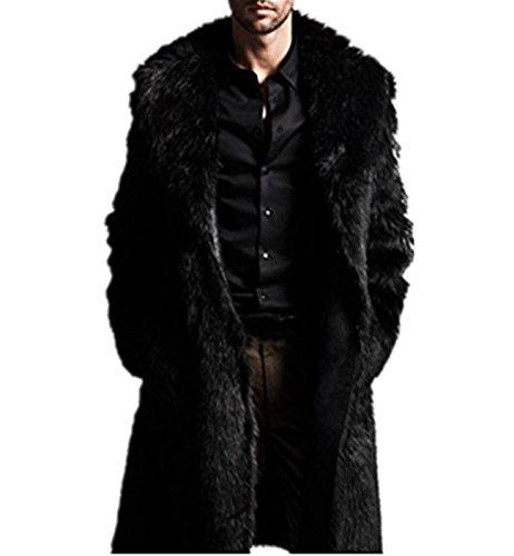 Cardigan da uomo con giacca da baseball in finta pelliccia con spessa giacca da uomo,mens caldo e ispessimento lungo cappotto giacca di finto pelo parka outwear cardigan (xl, nero)