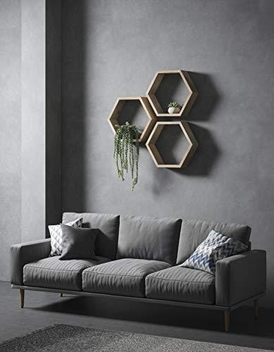 Duck woodworks, mensole esagonali, mensola esagonale, mensola geometrica, ripiani sospesi, hexagon, a nido d'ape, mensola da parete, in quercia, scaffale in legno, ripiani in rovere