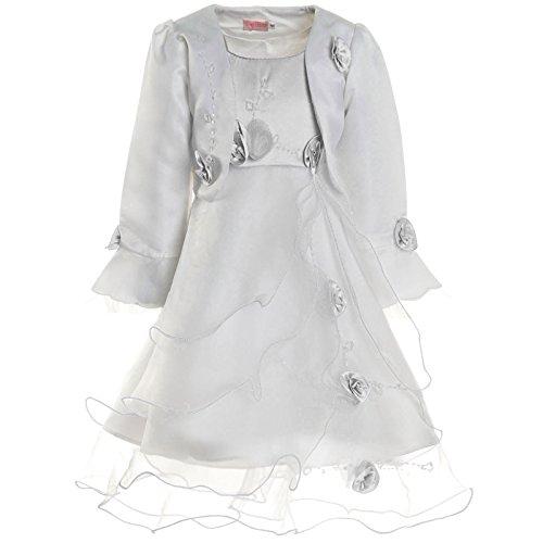 Kostüm Weiße Rose Mädchen - Mädchen Kommunions Kleid Festkleid Kostüm Bolero Rose 21476 Weiß Größe 116