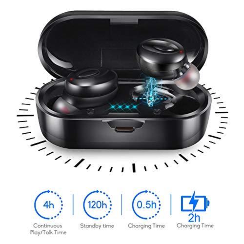 kashyk Bluetooth Kopfhörer,Bluetooth In-Ear Headset mit Portable Akku Ladebox,Freisprechanlage Bluetooth Ohr Stereo Sound Erstklassiger Sound Noise Cancelling für Business/Büro/Fahren (4-fuß-mikrofon-kabel)