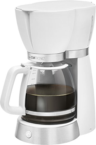 Clatronic KA 3689 - Cafetera eléctrica de goteo automática, serie Rock & Retro estilo vintage, máquina café de filtro capacidad 15 tazas, 1,7 litros, función de mantenedora calor, 1000 W, blanco