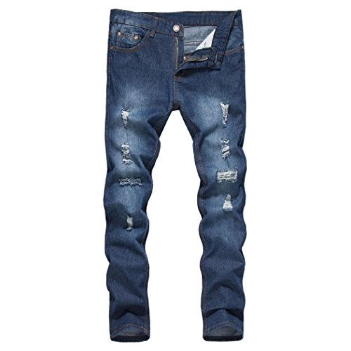 Sannysis Herren Jeans Denim Hose Slim Fit Destroyed Blau Schwarz Herren Slim Fit Straight Denim Vintage-Stil mit Löchern Jeans Hose (Blau, M) (Jeans Arbeit Denim)