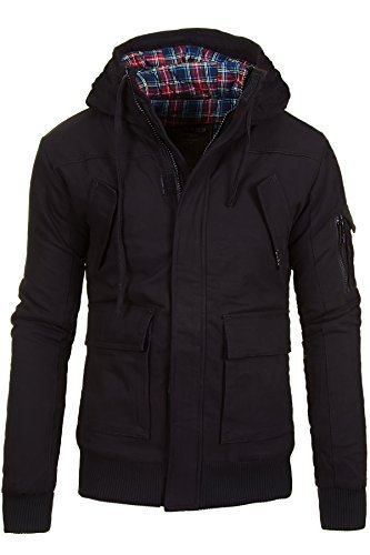 Young & Rich by Headline Warme Jacke Gefütterte Herren Winterjacke Kapuze Mantel, Schwarz, Gr. XL