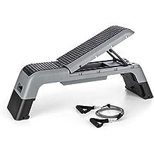 CAPITAL SPORTS Stepalot 4in1 Stepper Banco de ejercicios (step, inclinable, banca de pesas plano e inclinado, incluye cuerda de resistencia)