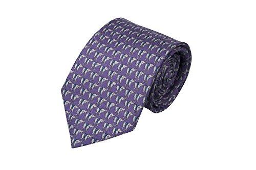 Preisvergleich Produktbild Notch Krawatte aus Seide für Herren - Winzige weiße & blaue Elefanten auf Lila