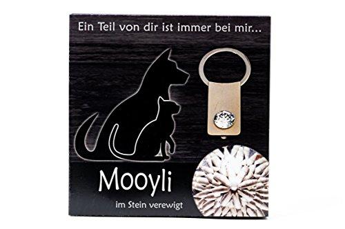 Schlüsselanhänger Tiere von Mooyli Andenken Erinnerungsstück Anhänger ans Haustier mit Swarovski® Kristall zum Befüllen -